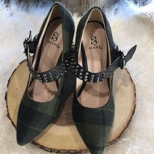 Green Plaid with Spikes Heels last chance